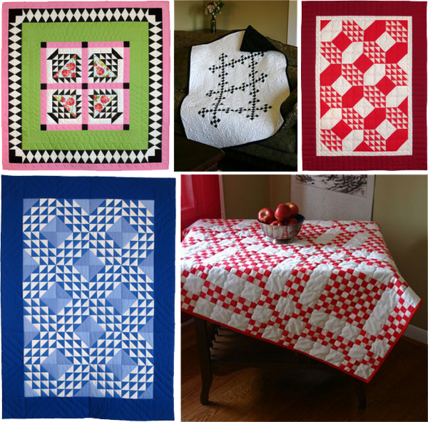Five quilts made with Sashing Stash fabric