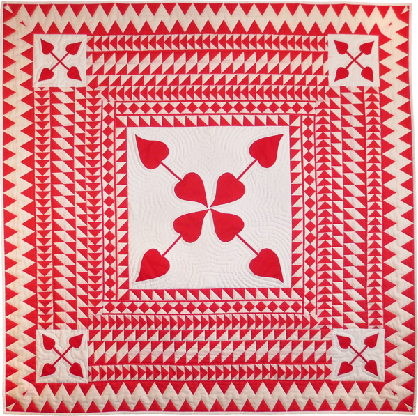 Red Medallion quilt made with Sashing Stash fabric