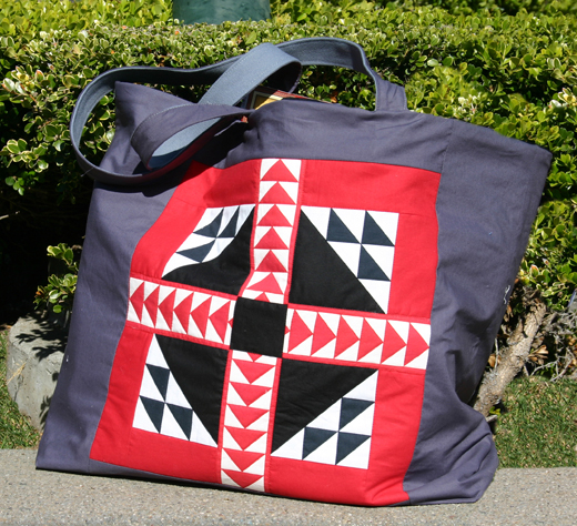 And here is a tote bag featuring another Sue Fox block.