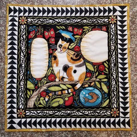 """Cat and Fish, preemie baby quilt 30"""" x 30"""", by Dani Lawler"""
